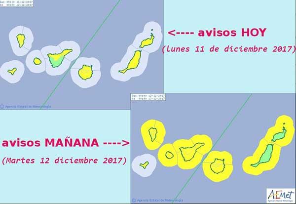 Avisos amarillos en Canarias por lluvia, viento y costero, lunes 11 y martes 12 de diciembre, debido a un frente frío