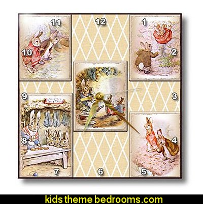 Peter Rabbit Vintage Collage Art Stories Wall Clock