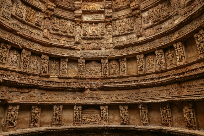 Intricately carved Interiors of well