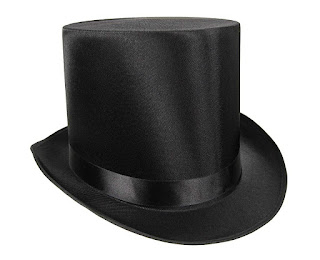 Steampunk Tall black satin top hat