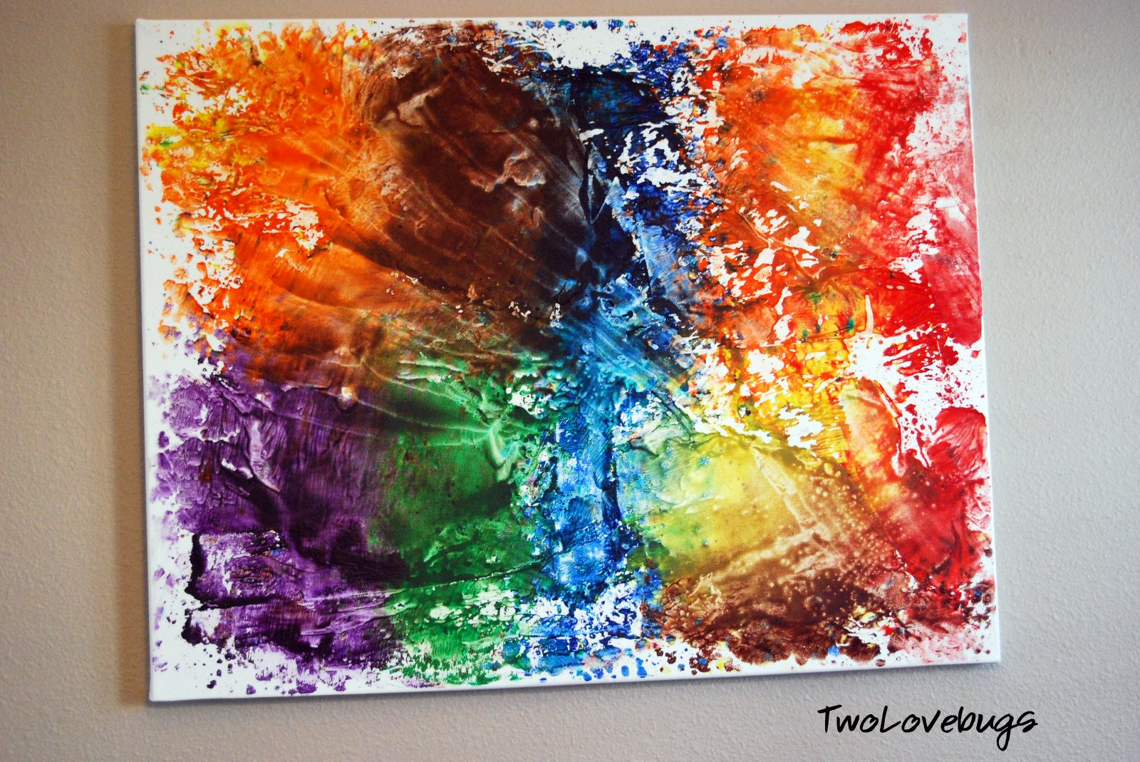 Melted Crayon Art On Canvas With Iron