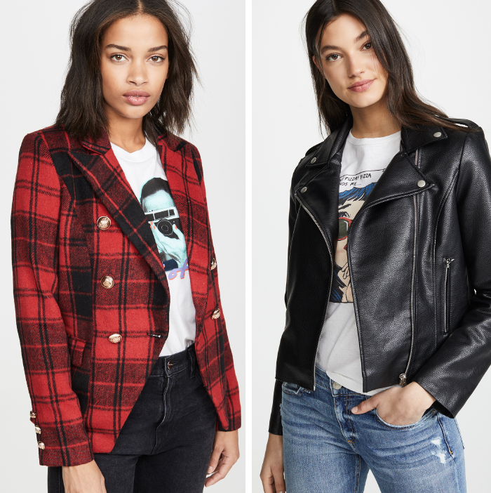 plaid blazer, leather moto jacket, fall jacket trends 2019