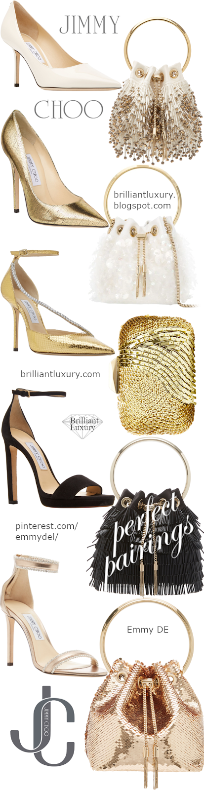 Perfect Pairings ♦ Jimmy Choo Evening Shoes & Bags #brilliantluxuy