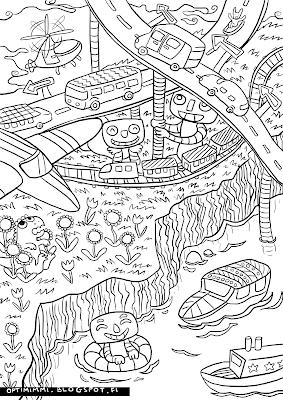 A coloring page of cars, trains, planes and all sorts of vehicles / Värityskuva autoista, junista, lentokoneista ja kaikenlaisista liikennevälineistä