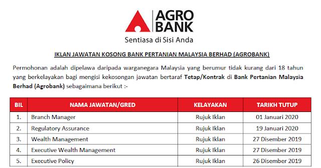 jawatan kosong agrobank 2020