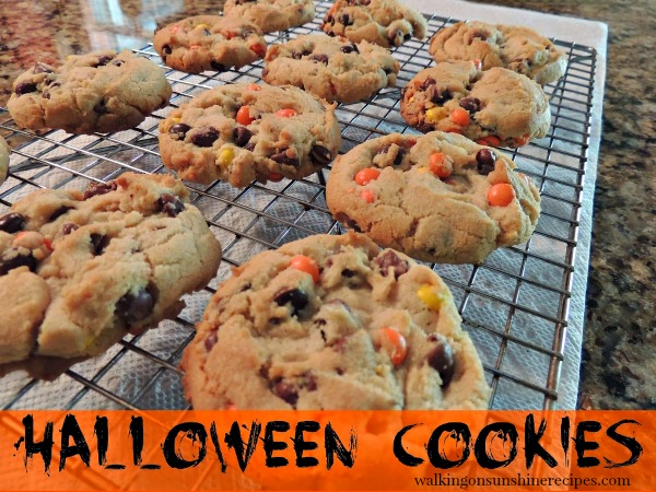 Halloween Cookies with colorful candy pieces from Walking on Sunshine Recipes.
