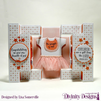 Divinity Designs Stamp Set: Sweet Baby  Paper Collection: Baby Girl  Custom Dies: Double Display, Circles, Pierced Circles, Filigree Circles, Sparkling Stars, Baby Blessings  Embossing Folder: Cross Stitch