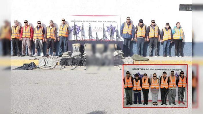 """Elementos de la SSPM y Guardia Nacional capturan a 20 sicarios de """"Los Mexicles"""" con arsenal y droga, en Ciudad Juárez"""