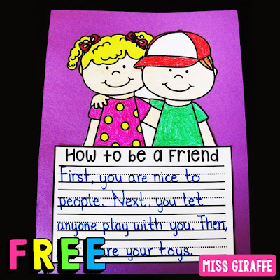 Fun writing first grade how to be a friend activity