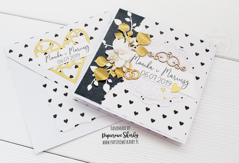 scrapbooking cardmaking rękodzieło kartka karteczka ślub ślubna gratulacyjna okolicznościowa dla młodej pary prezent card wedding biel czerń złoto gold black white elegancja elegancka storczyki wielki gatsby