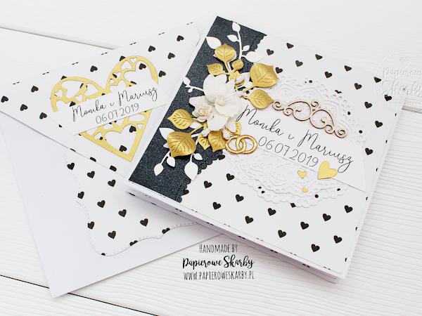 Ślub Moniki i Mariusza- kartka w bieli, czerni i złocie
