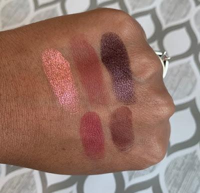 Coloured Raine x Power Eyeshadow Palette swatches on dark skin (revenge, deception, alibi, betrayal, testify)