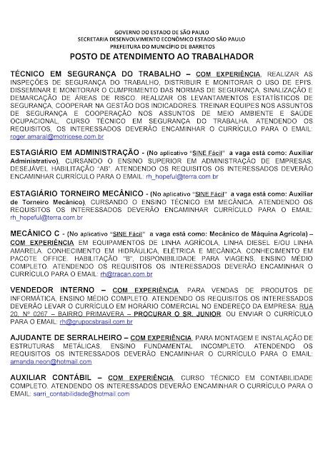 VAGAS DE EMPREGO DO PAT BARRETOS PARA 04-09-2020 PUBLICADAS NA TARDE DE 03-09-2020 - PAG. 3