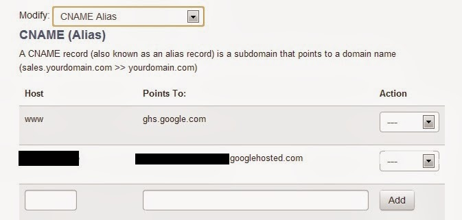Screen Shot of Domain.Com CNAME Alias