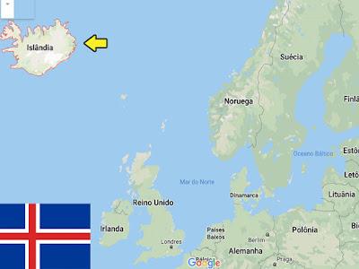 Países pequenos promovidos pelo futebol - Localização da Islândia no mapa.