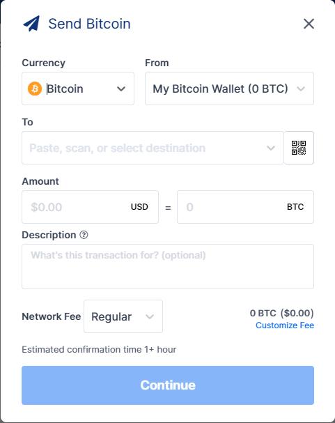 طريقة إرسال العملات الرقمية