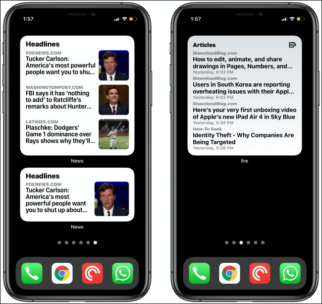 أدوات الأخبار على جهازي iPhone.