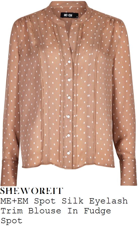 holly-willoughby-me-and-em-fudge-and-cream-polka-dot-spot-print-eyelash-trim-detail-silk-blouse