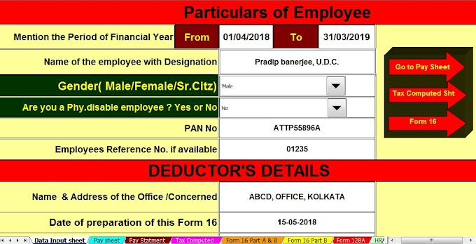 Download Automated All in One TDS on Salary for Non-Govt (Private) Employees for F.Y.2018-19 With claiming Tax Benefits on Home Loan and HRA together