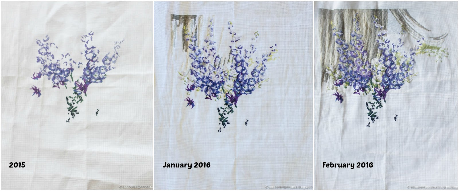 Peonies and Delphiniums Cross Stitch Project