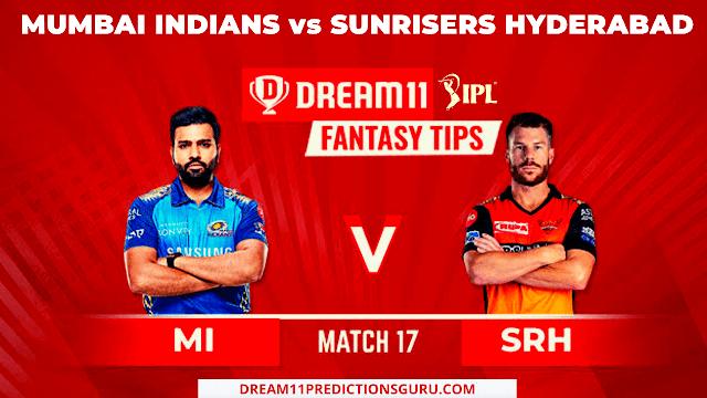 Mumbai Indians vs Sunrisers hyderabad Dream11 Tips and predictions