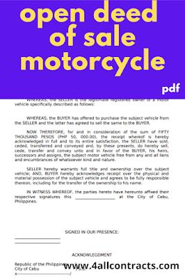 Open deed of sale motorcycle