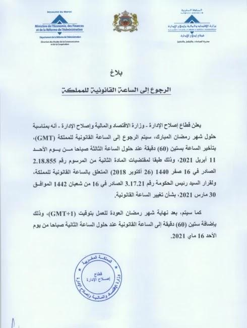 الرجوع إلى الساعة القانونية للمملكة المغربية 2021