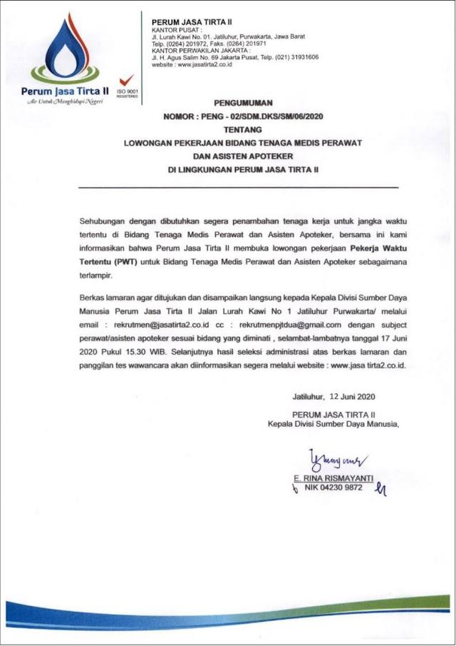 Lowongan Kerja BUMN - Lulusan SMK dan S1 - Perusahaan Umum Jasa Tirta II