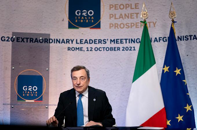 "G20 sull'Afghanistan, Draghi: ""Mandato all'Onu per agire"""
