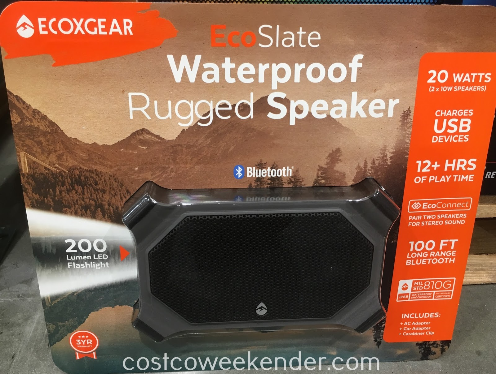 Enjoy listening to music while in the backcountry with the ECOXGEAR EcoSlate Bluetooth Speaker
