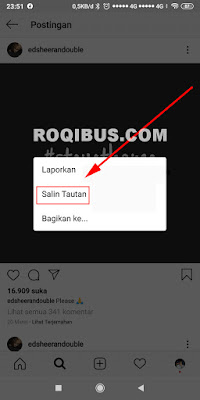 Cara menyalin link foto di instagram.