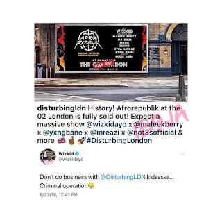 Wizkid blasts his management company, Disturbing London