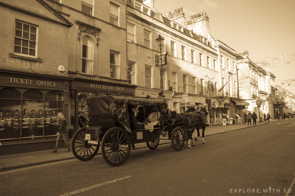 Old style photo of Bath Street with Horse Drawn Carriage