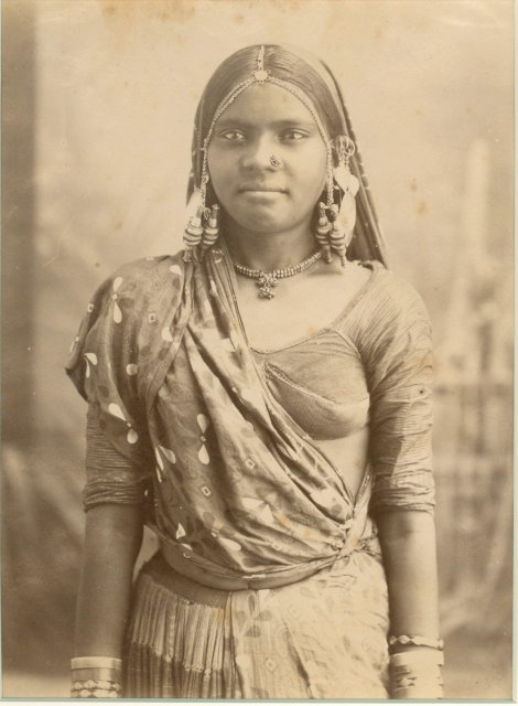 Indian Woman in Sari and Ornaments - c1880