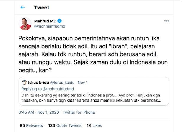 Mahfud MD Buat Ramai Twitter! Unggah Cuitan yang Bahas Kehancuran Negara Karena Pemerintahannya