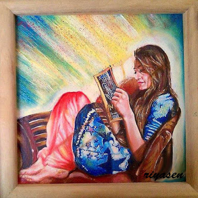 Beautiful ArtWork Of Girl Reading Book By Famous Tumblr Artist Riya Sen.