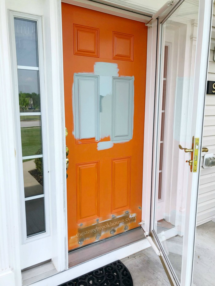 Testing paint colors on the front door