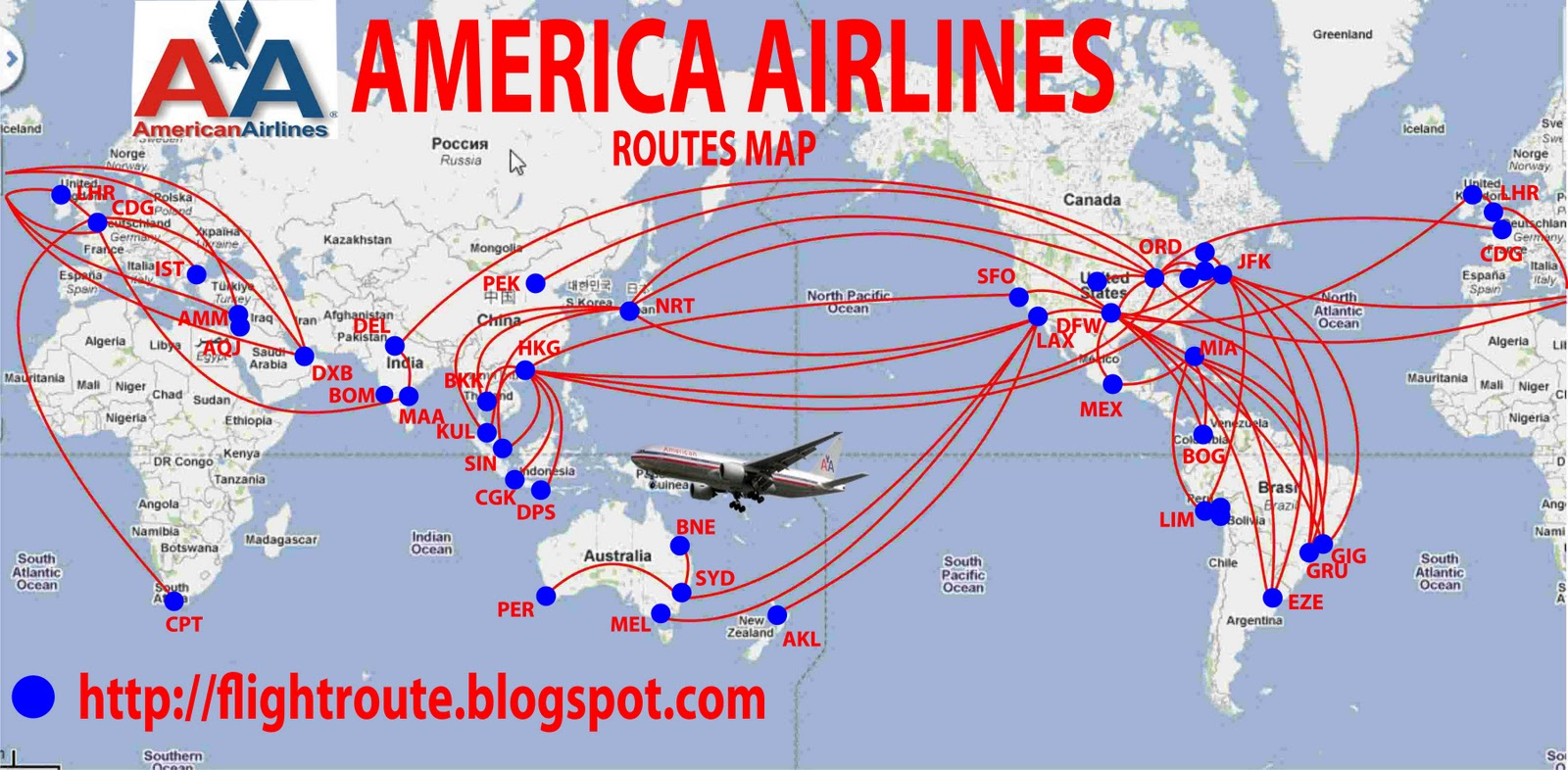 Australian Airlines American Airlines Routes Map