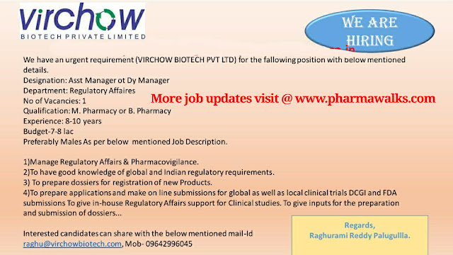 Virihow Biotech - Urgent requirement for Production / Regulatory Affairs / Warehouse departments   Apply Now