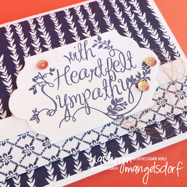 Stampin' Up! Floral Boutique Designer Series Paper Heartfelt Sympathy Card created by Kathryn Mangelsdorf