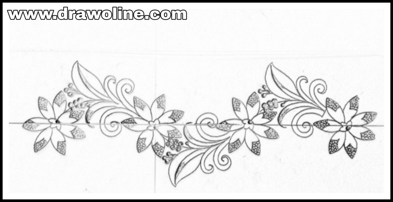 Simple flower border design for hand works saree design these images are drawn for hand emroidery design the images are drawn with pencil and sketch pen on