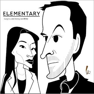 Lucy Liu & Jonny Lee Miller caricature by Ian Davy Brown