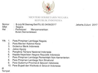 Menteri Sekretaris Negara Republik Indonesia  Mensesneg Imbau Rakyat Indonesia untuk Mengibarkan Bendera Merah Putih secara Serentak Mulai Tanggal 1 - 31 Agustus 2020