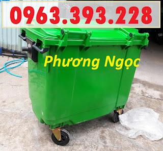 Xe đẩy rác 660 lít 4 bánh, xe gom rác công nghiệp, thùng rác 660L nhựa HDPE XR660L4B2