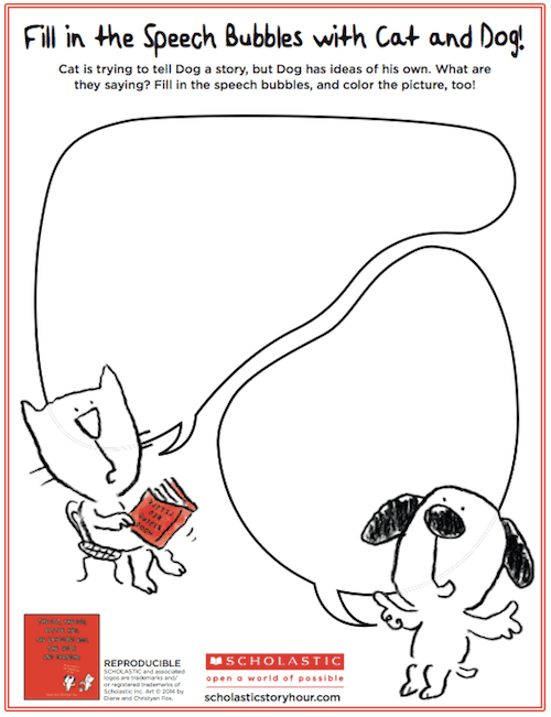 Fill in the Speech Bubble. A Cat, Dog and Little Red activity.