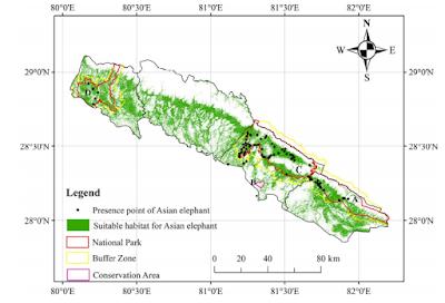 redicted suitable habitat of wild Asian elephant