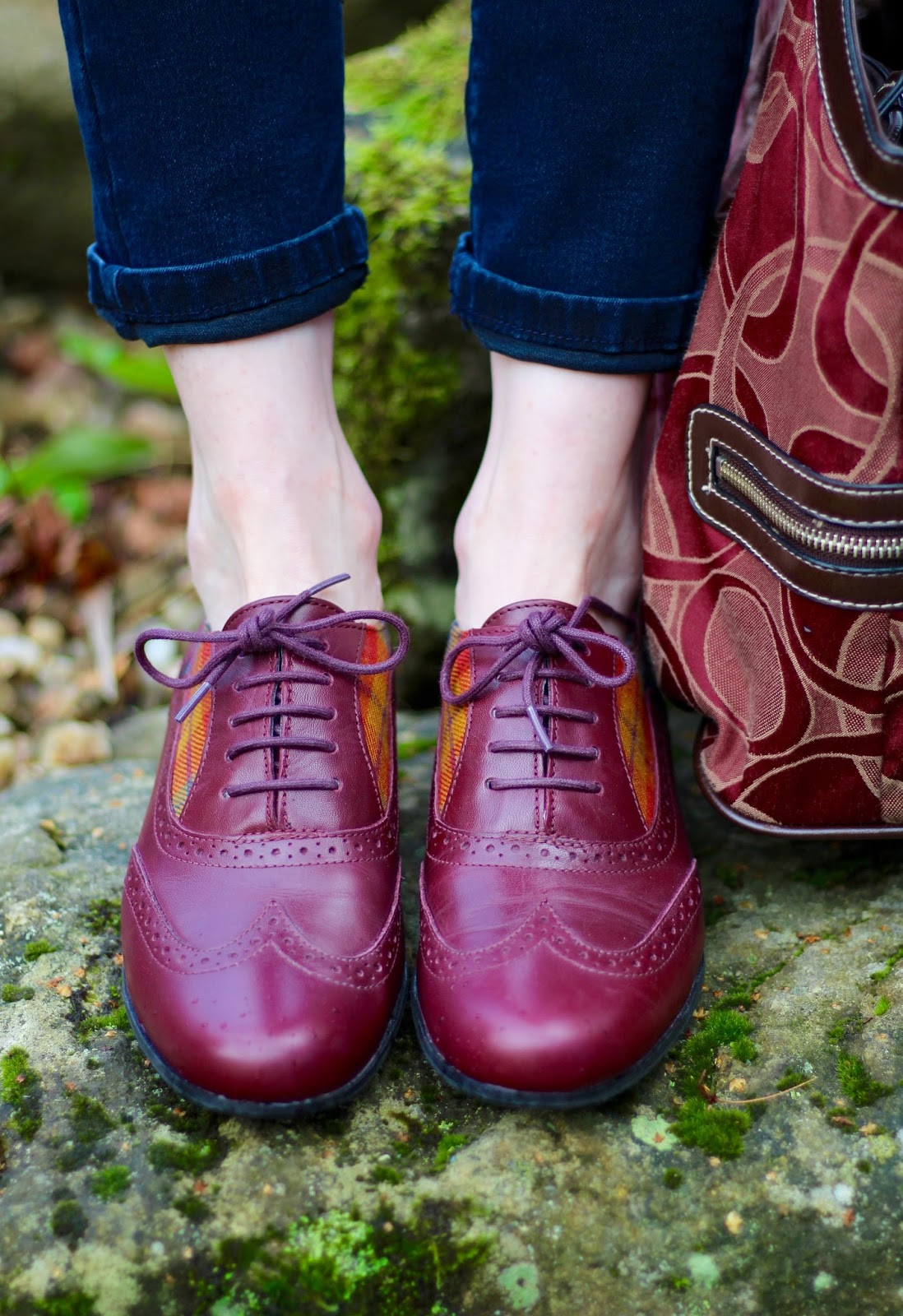 Fake Fabulous | Burgundy tartan Clarks brogues.