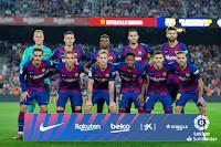 F. C. BARCELONA. Temporada 2019-20. Ter Stegen, Clement Lenglet, Nélson Semedo, Sergio Busquets, Gerard Piqué. Antoine Griezmann, Arthur Melo, Frenkie De Jong, Ansu Fati, Carles Pérez y Jordi Alba. F. C. BARCELONA 5 VALENCIA C. F. 2. 14/09/2019. Campeonato de Liga de 1ª División, jornada 4. Barcelona, Nou Camp (81.617 espectadores). GOLES: 1-0: Ansu Fati (2'). 2-0: De Jong (7'). 2-1: Kevin Gameiro (27'). 3-1: Piqué (51'). 4-1: Luis Suárez (61'). 5-1: Luis Suárez (82'). 5-2: Maxi Gómez (90+2').