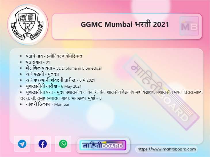 GGMC Mumbai Recruitment 2021