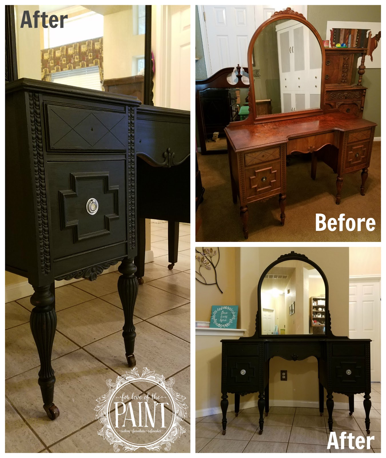 - For Love Of The Paint: Before And After : Custom Vanity Refinish In Onyx